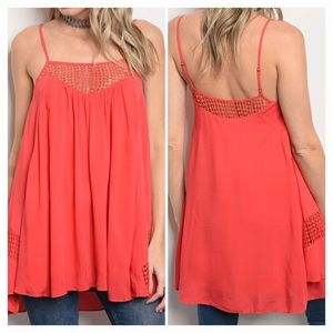 Coral Square Neckline Sleeveles Tunic Top